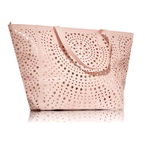 Bags   Hp Pink Rose Gold Laser Cut Out Tote Bag   Poshmark 2230ae51e0